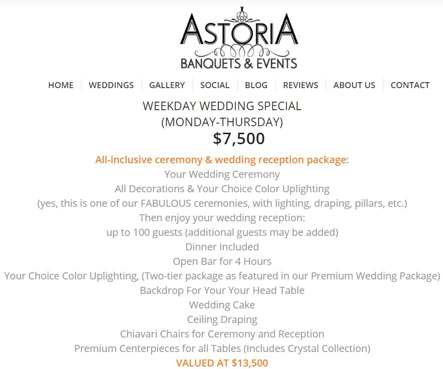 Chicago suburbs banquet hall packages 2019